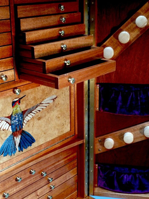 Hummingbird Jewelry Armoire Cabinet Interior